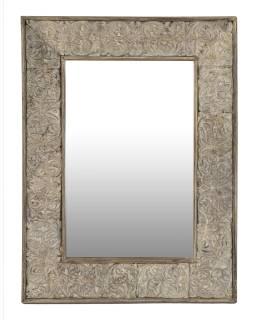 Zrcadlo v rámu z teakového dřeva, ruční řezby, bílá patina, 90x120x4cm