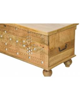Truhla z mangového dřeva zdobená zrcátky a kováním, 144x40x45cm