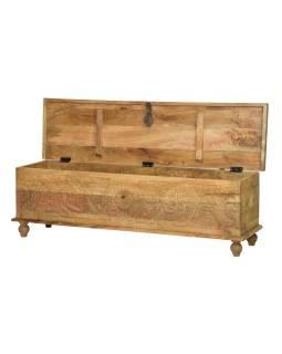 Truhla z mangového dřeva zdobená ručními řezbami, 150x40x45cm