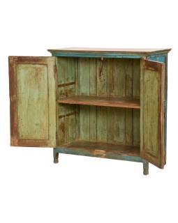 Stará skříňka teakového dřeva, tyrkysová patina, 98x45x102cm