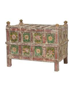 Starožítná truhla z teakového dřeva, ručně malovaná, 100x66x81cm