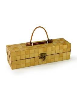 Ratanová krabice na víno, svetlá, 35x10x10cm