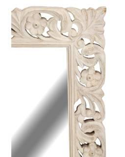 Ručně vyřezávané zrcadlo z mangového dřeva, bílá patina, 60x4x90cm