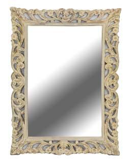Zrcadlo ve vyřezávaném rámu, bílá patina, mango, 60x4x90cm