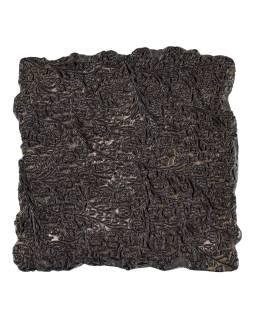 Staré razítko na textil vyřezané z mangového dřeva, květinový motiv, 15x15x6cm