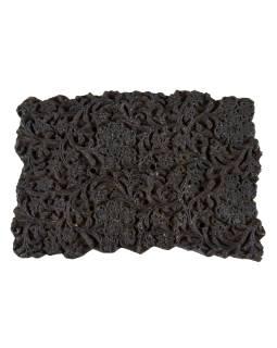 Staré razítko na textil vyřezané z mangového dřeva, květinový motiv, 18x12x8cm