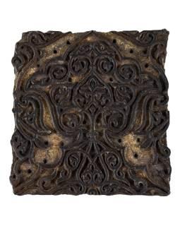 Staré razítko na textil vyřezané z mangového dřeva, květinový motiv, 15x13x8cm