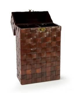 Ratanová škatuľa na 2 fľaše vína, tmavá, 20x10x36cm