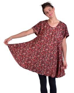 Krátké šaty s krátkým rukávem, černé s červeným potiskem květin