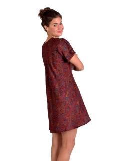 Krátké šaty s krátkým rukávem, černo-červené s paisley potiskem