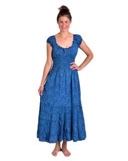 Dlouhé šaty na ramínka, tmavě modré s drobným paisley potiskem