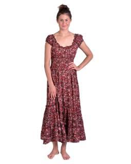Dlouhé šaty na ramínka, černé s červeným potiskem květin