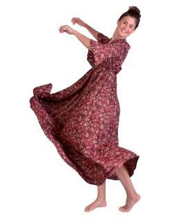 Dlouhé šaty s krátkým rukávem, černé s červeným potiskem květin, volán