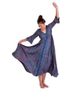 Dlouhé šaty s krátkým rukávem, fialovo-růžové s drobným paisley potiskem