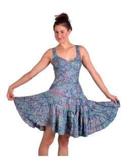 Krátké šaty na ramínka, tyrkysové s modrým paisley potiskem, volán