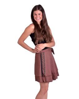 Krátká letní zavinovací sukně, růžová s černo-béžovým drobným potiskem