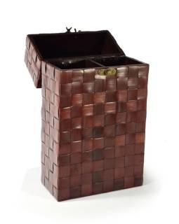 Ratanová škatuľa na 2 fľaše vína s uchom, 20x10x36cm