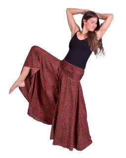 Pohodlné volné kalhoty, široké nohavice, červeno-hnědé s paisley potiskem