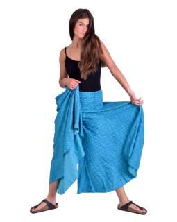 Pohodlné volné kalhoty, široké nohavice, modré s drobným květinovým potiskem