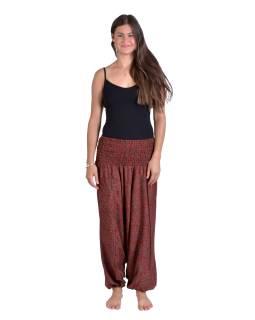 Turecké pohodlné volné kalhoty, červeno-hnědé s paisley potiskem