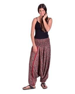 Turecké pohodlné volné kalhoty, černo-vínové s drobným paisley potiskem