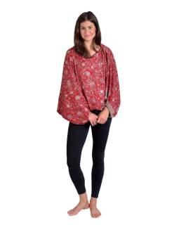 Turecké pohodlné volné kalhoty, vínovo-béžové s drobným květinovým potiskem