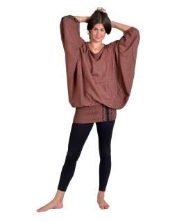 Turecké pohodlné volné kalhoty, růžovo-béžové s drobným potiskem