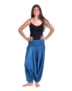 Turecké pohodlné volné kalhoty, modré s drobným květinovým potiskem