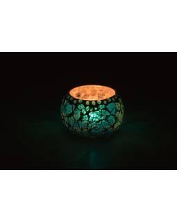Lampička, skleněná mozaika, tyrkysová, kulatá, průměr 9cm, výška 7cm