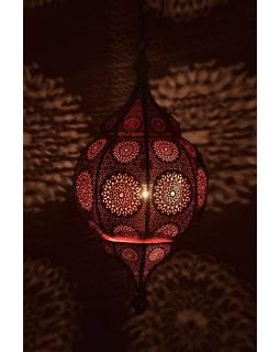 Orientální lampa s jemným vzorem, zlatá, uvnitř růžová, 30x30x65cm