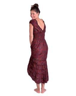 Dlouhé šaty na ramínka, černo-červené s drobným paisley potiskem