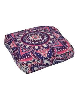 Meditační polštář, čtverec, 60x13cm, růžovo-fialová Mandala