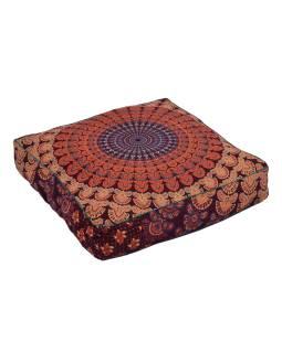 Meditační polštář, čtverec, 60x13cm, vínovo-oranžový, paví Mandala