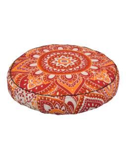 Meditační polštář, kulatý, 57x13cm, mandala červeno-bílá