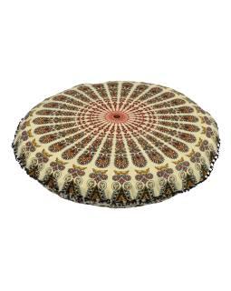 Meditační polštář, kulatý, 80x13cm, béžový, paví mandala, černé třásně
