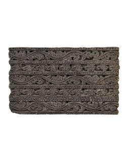 Staré razítko na textil z mangového dřeva, rostlinný motiv, 16x9x5cm