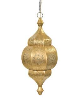 Lampa v orientálním stylu s jemným vzorem, zlatá, uvnitř modrá, 25x25x50cm