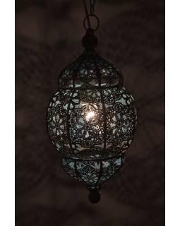 Lampa v orientálním stylu se vzorem, černo zlatá, uvnitř modrá, 22x22x44cm