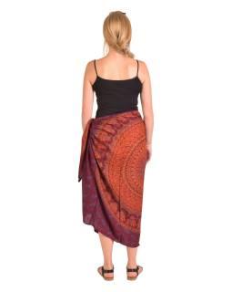 Sárong červeno-vínový s Mandalou a slony, 110x180cm, s ručním tiskem