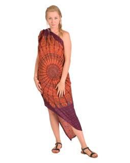 Sárong červeno-vínový s květinovou Mandalou, 110x180cm, s ručním tiskem