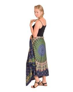 """Sárong modro-zelený """"Naptal"""" design, 110x170cm s ručním tiskem"""