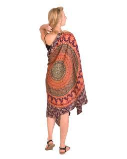 Sárong oranžovo-vínový, Mandala a sloni 110x170cm, s ručním tiskem