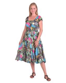Dlouhé šaty s balonovým rukávkem, černé s barevným potiskem květin a vzorů