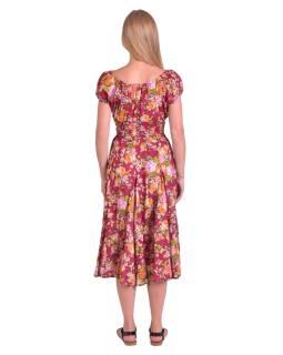 Dlouhé šaty s balonovým rukávkem, vínové s žluto-růžovým potiskem květin