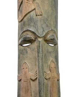 Domorodá maska z balzového dřeva, zelená patina, 22x150cm