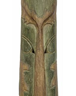 Domorodá maska z balzového dřeva, zelená patina