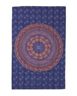 Přehoz na postel, modro-červený, Mandala, sloni a pávy 200x130cm
