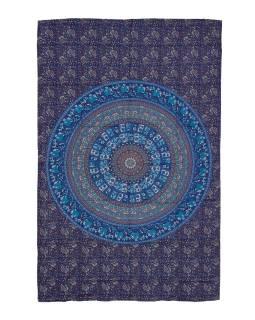 Přehoz na postel, modro-zelený, Mandala, sloni a pávy 200x130cm