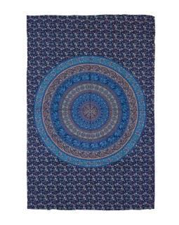 Přehoz na postel, modro-zelený, Mandala, sloni a květiny 200x130cm