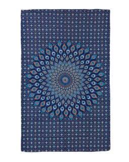 Přehoz na postel, modro-zelený, Mandala paví pera 200x130cm